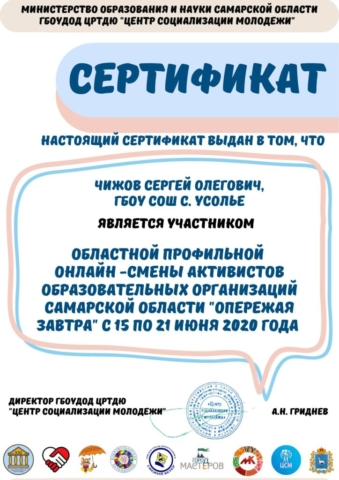 Сертификат Чижов Сергей Олегович